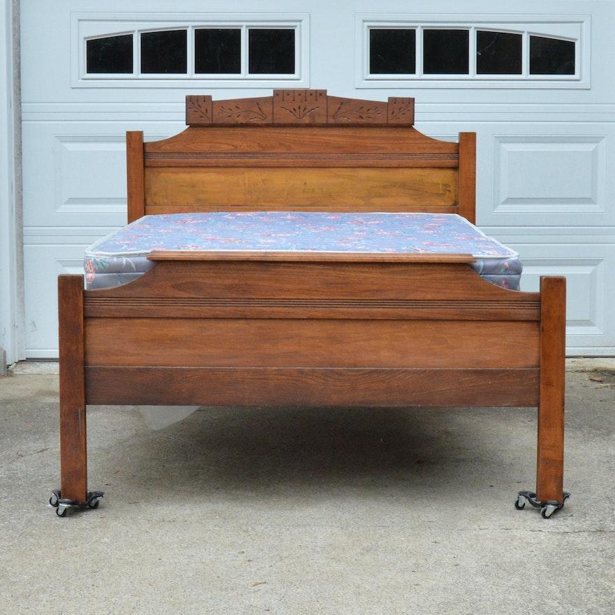 Antique Eastlake Style Three Quarter Bed Frame
