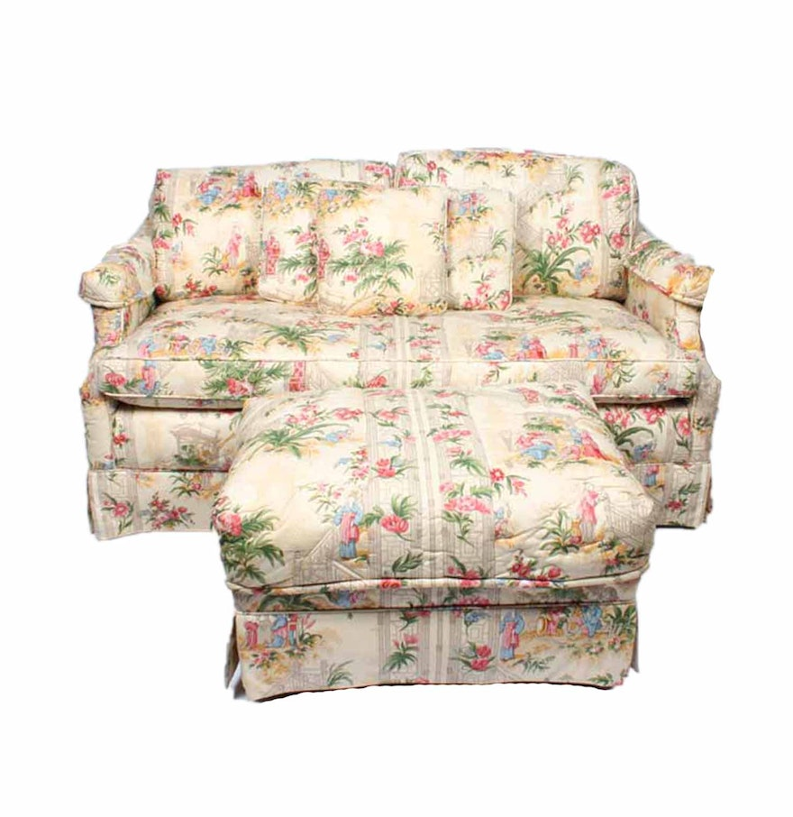 Floral Print Loveseat And Ottoman Ebth