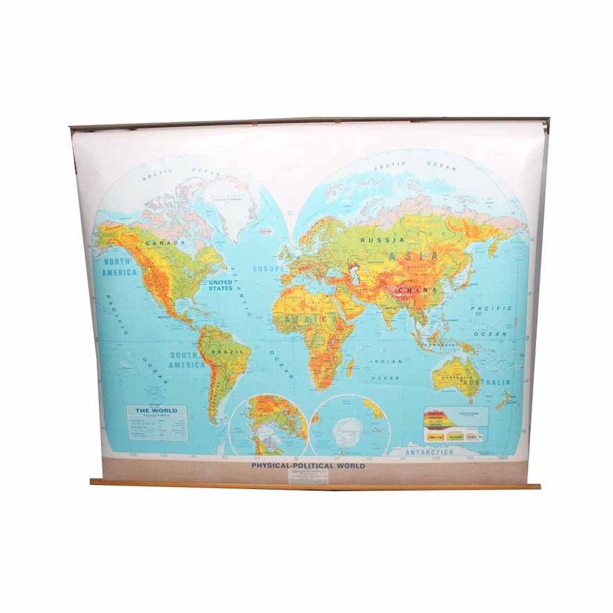 Vintage School Classroom Pull Down World Map : EBTH