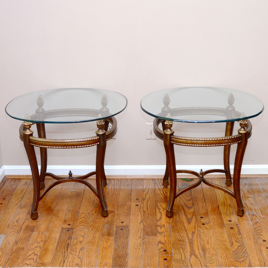 Two Brushed Gold Tone Metal And Glass Side Tables EBTH - Brushed gold side table