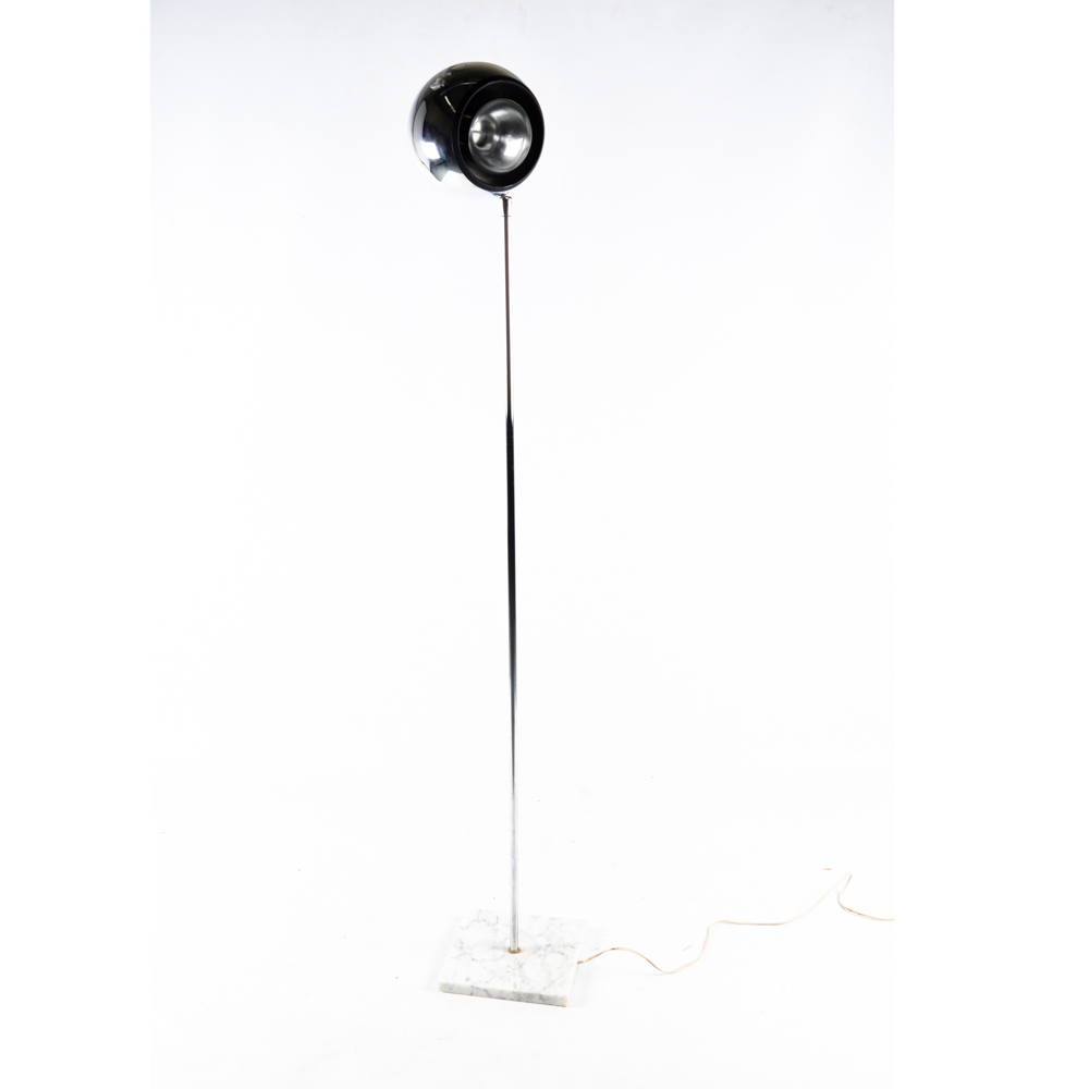 ^ Mid-entury Modern hrome and Marble Orb Floor Lamp : BH