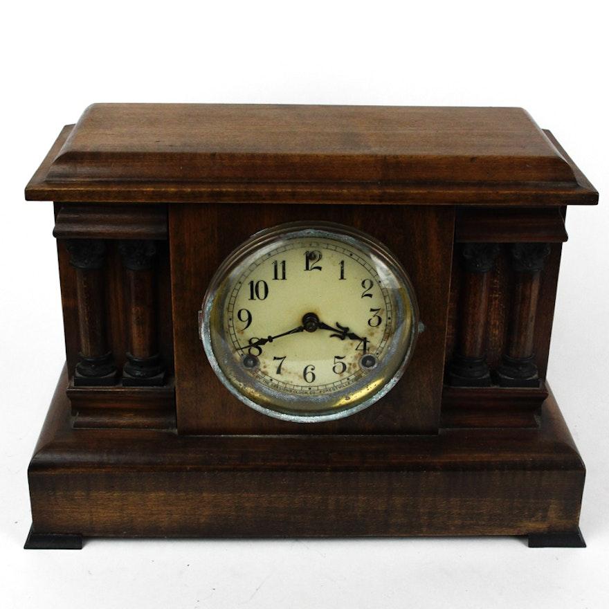vintage wood mantel clock ebth. Black Bedroom Furniture Sets. Home Design Ideas