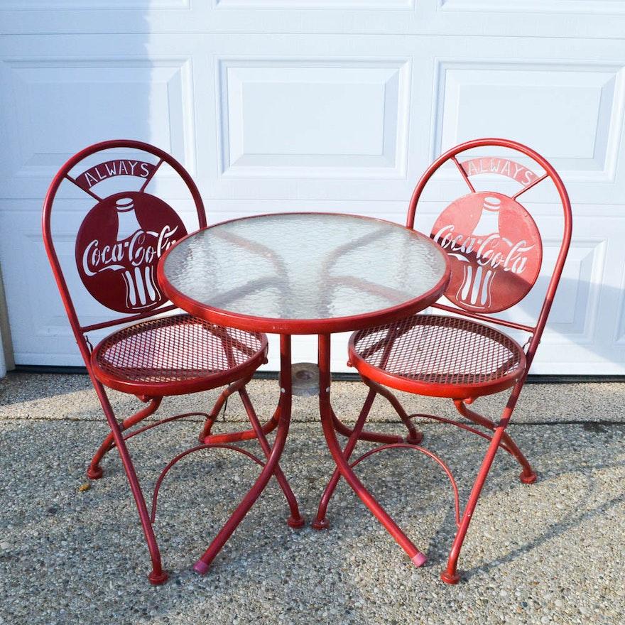 Retro coca cola bistro set ebth - Coca cola table and chairs set ...