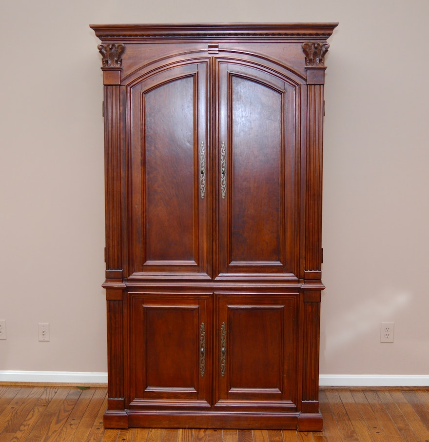 Traditional cherry stain wood armoire ebth
