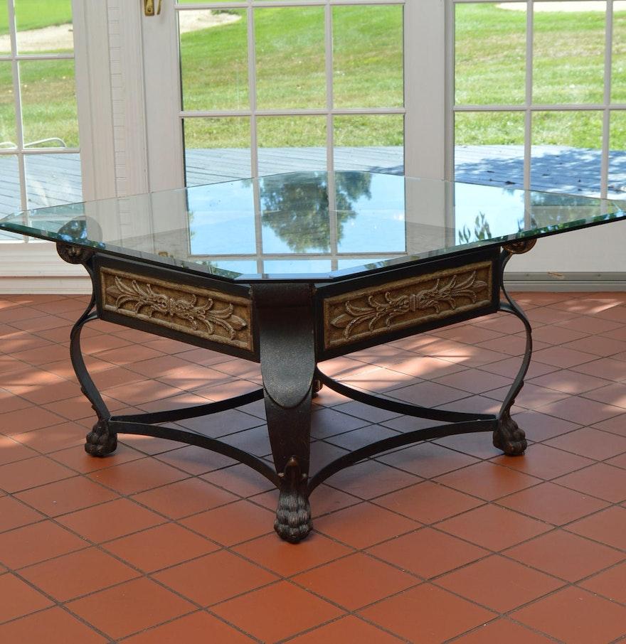 Glass Top Metal Coffee Table Ebth