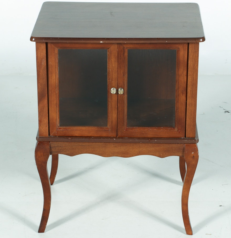 wood end table with glass doors ebth. Black Bedroom Furniture Sets. Home Design Ideas