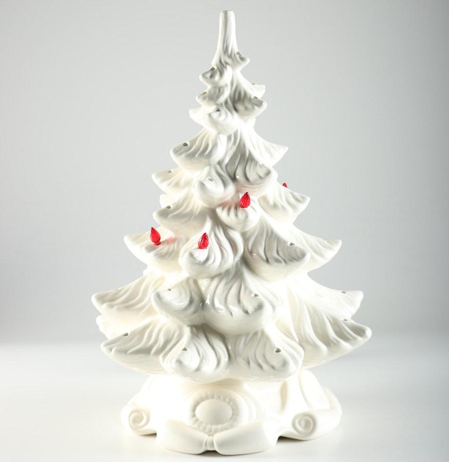 Hummel christmas tree ornaments - White Ceramic Christmas Tree With Lights