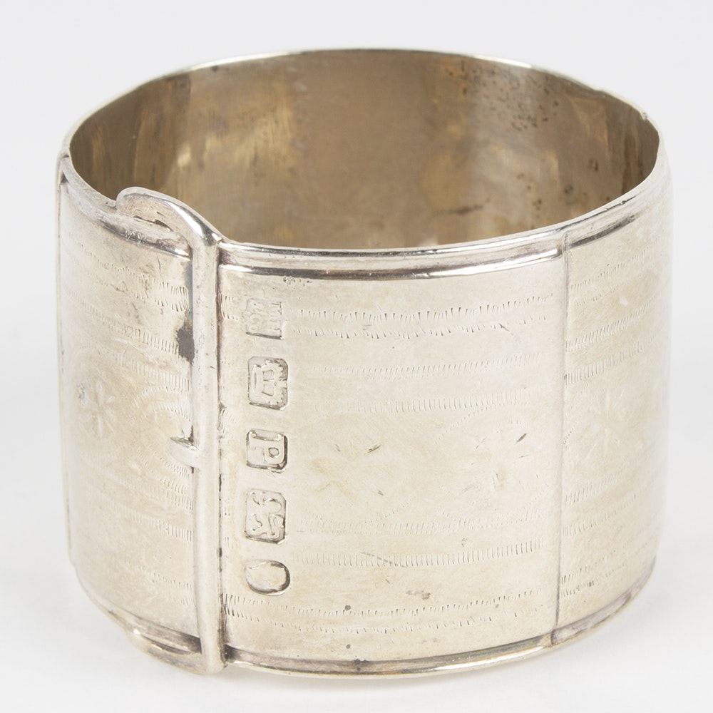 Sterling Silver Belt Designed Napkin Ring