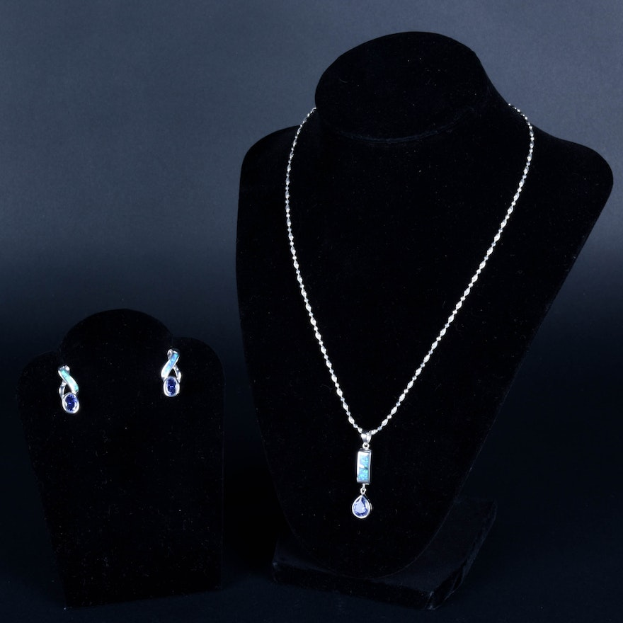 Sterling Silver And Black Opal Tanzanite Necklace Earring Set