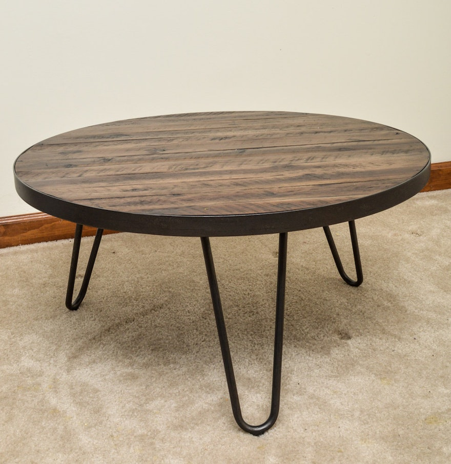 Walnut and wrought iron coffee table by world market ebth walnut and wrought iron coffee table by world market geotapseo Choice Image