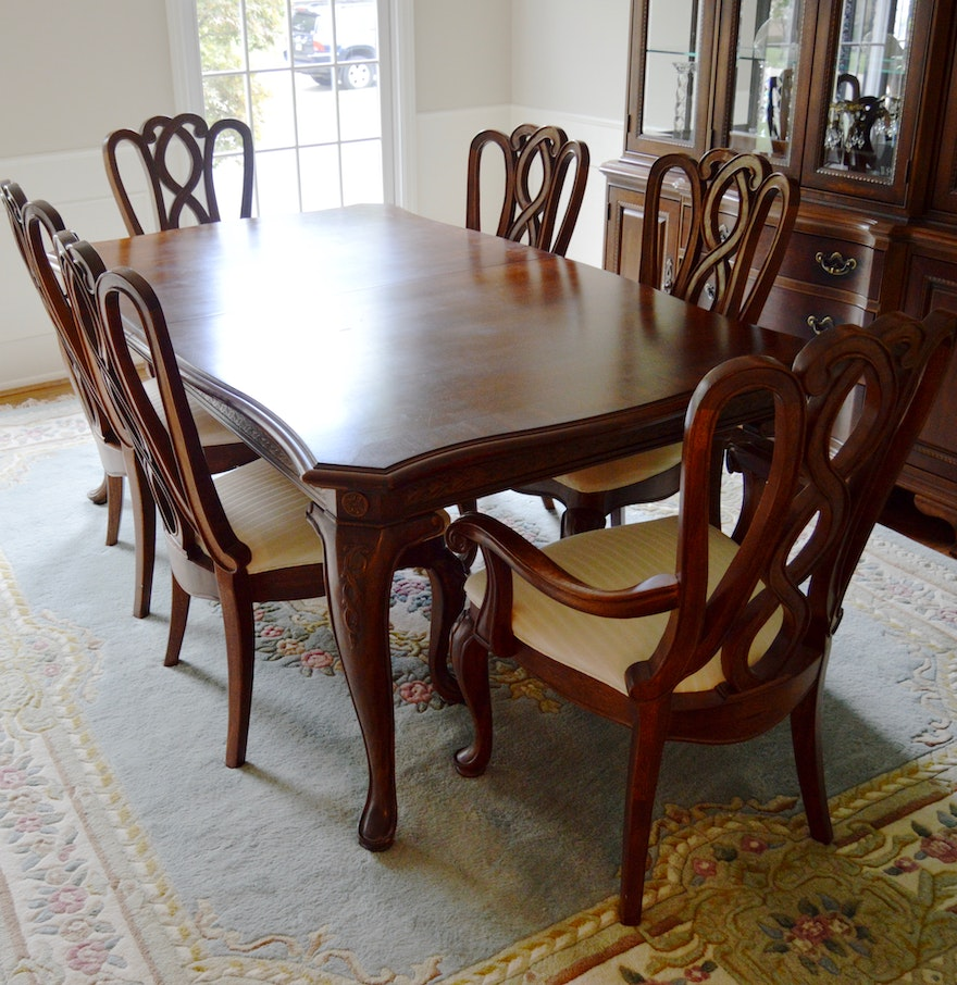 Formal dining room table and chairs by american drew ebth for Traditional dining table with bench