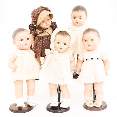 Set of 1930s Madame Alexander Composition Dionne Quintuplets Dolls