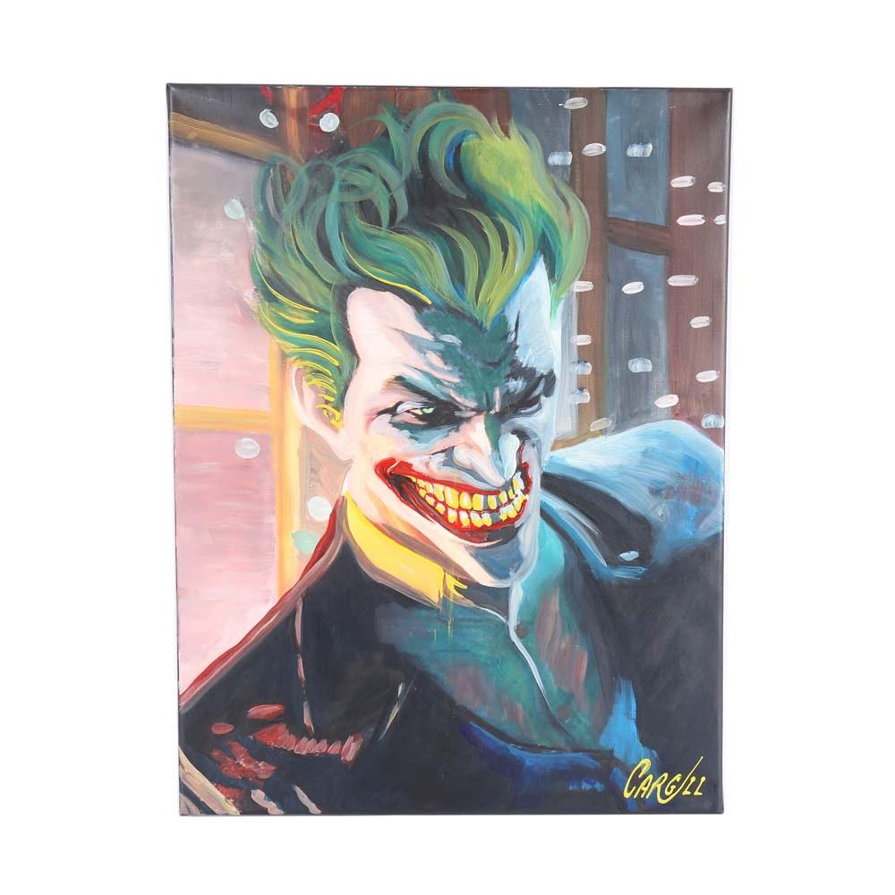 "Original Chris Cargill Acrylic on Canvas  ""The Joker"""