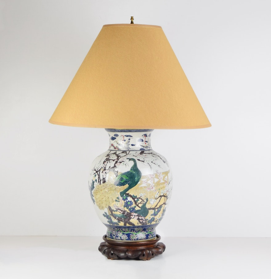 Antique wood table lamps - Ceramic Table Lamp With Peacock On Carved Wooden Base