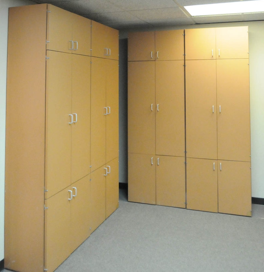Four large storage cabinets ebth