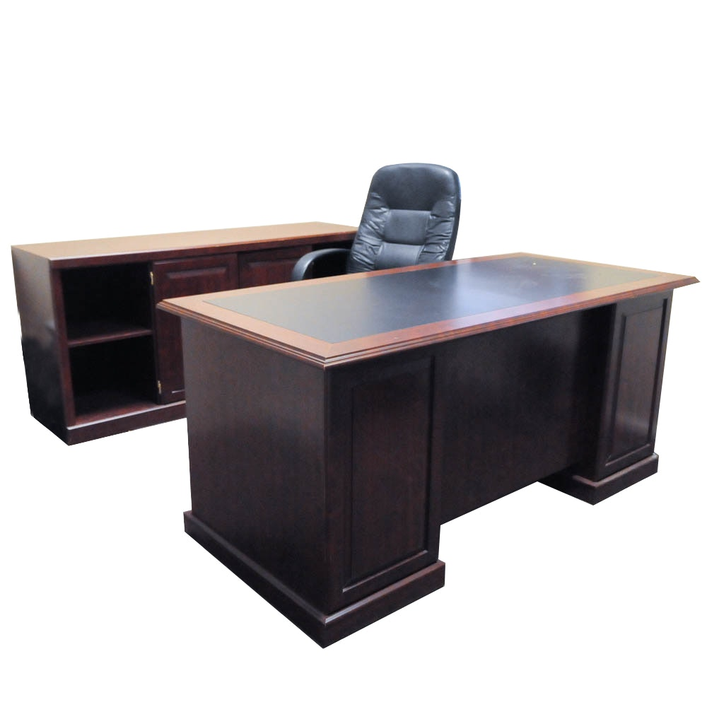 Office Desk, Credenza, And Rolling Chair ...