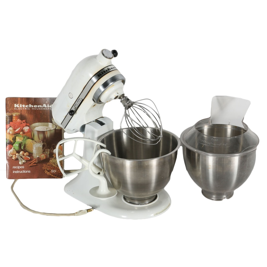 KitchenAid Mixer with Extra Bowl, Accessories, and Booklet : EBTH on kitchenaid 4.5 qt mixer, kitchenaid 7 qt commercial mixer, white kitchenaid mixer, 6 quart kitchenaid mixer, kitchenaid artisan mixer, 5-quart kitchenaid mixer, kitchenaid 600 mixer, sea glass kitchenaid mixer, qvc kitchenaid mixer, kitchenaid 5 qt bowl lift mixer, extra large glass fish bowl, orange kitchenaid mixer, blue willow kitchenaid mixer, purple kitchenaid mixer, red kitchenaid mixer, extra kitchenaid stand mixer bowl, discount kitchenaid mixer,