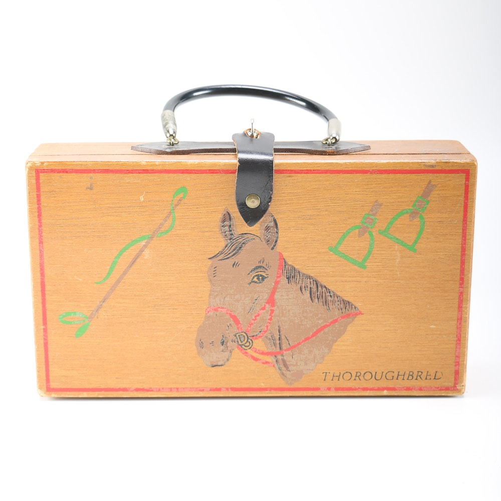 Vintage Forsum Wooden Box Purse with Painted Horse