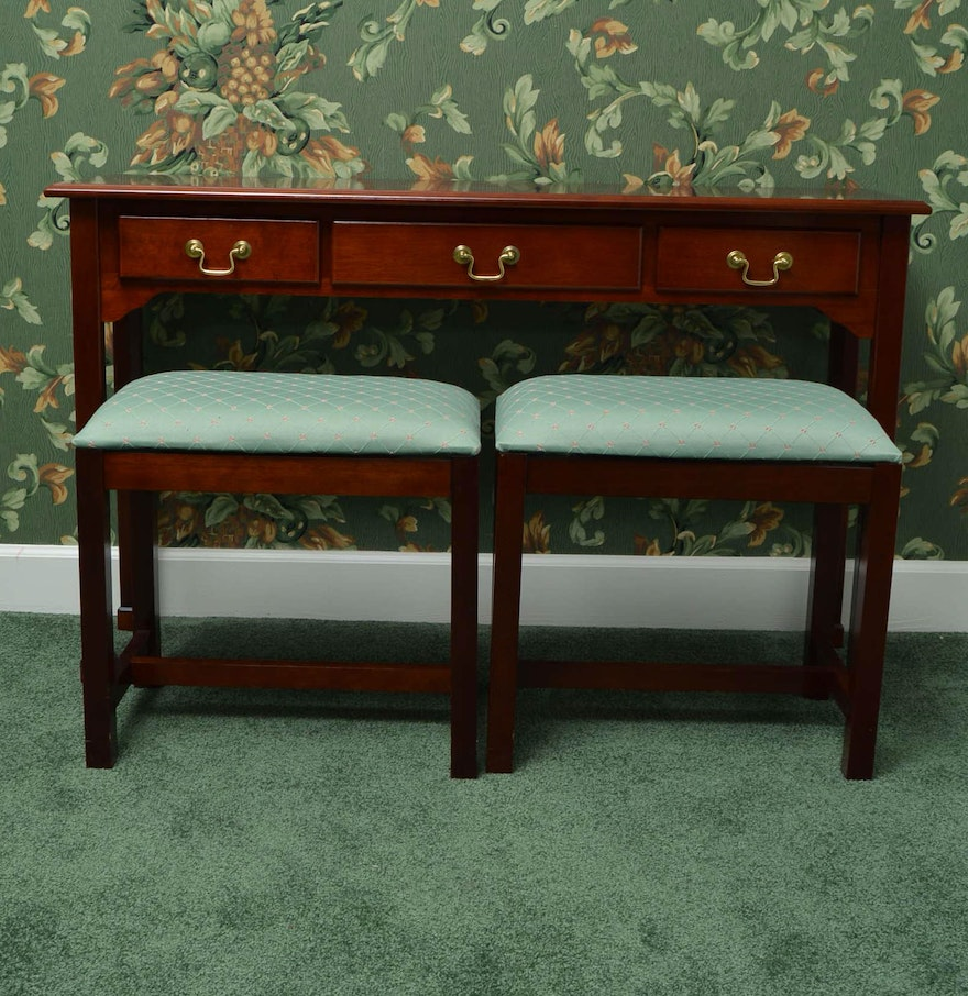 Console Table With Stools ~ Cherry console table and upholstered stools ebth