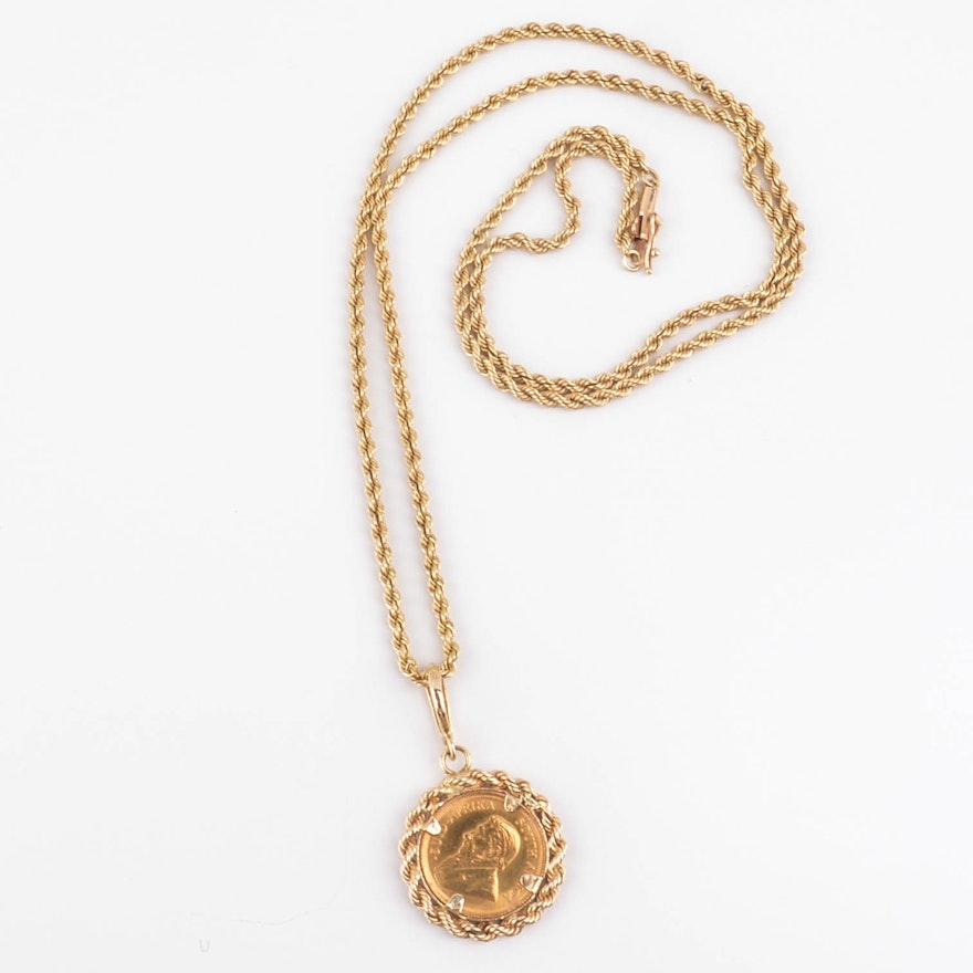 22K Gold Kruggerand Coin Pendant on 14k Chain Link Necklace