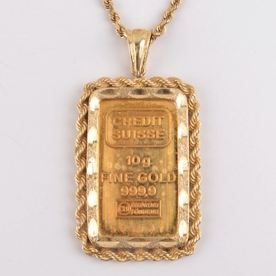d78bbd72ecf 24K Gold Credit Suisse Pendant with 14k Gold Necklace