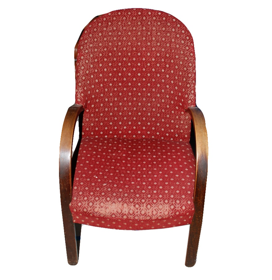 Red upholstered chair ebth for Red and white upholstered chairs