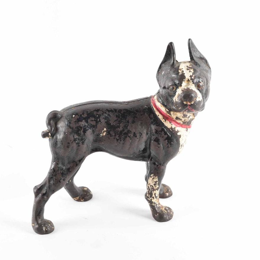 Antique Cast Iron Boston Terrier Doorstop with Red Collar ... - Antique Cast Iron Boston Terrier Doorstop With Red Collar : EBTH