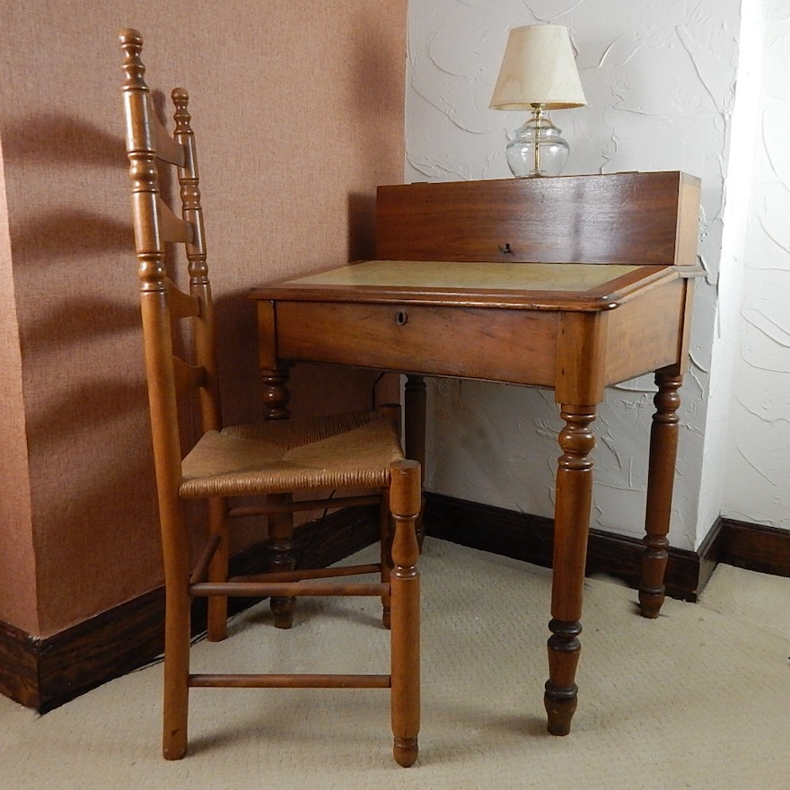 Antique Student Writing Desk with Ladder Back Chair ... - Antique Student Writing Desk With Ladder Back Chair : EBTH