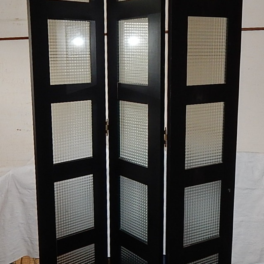 Pottery Barn Wood And Glass Room Divider Ebth