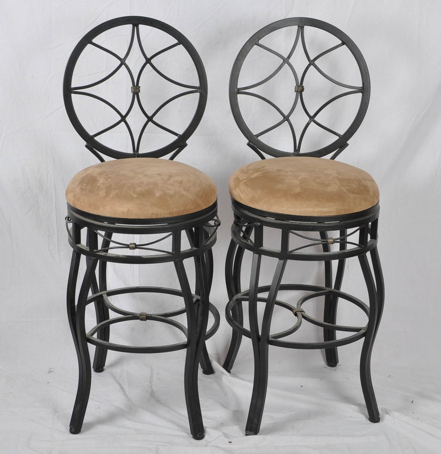 Pair Of Metal Swivel Bar Chairs Ebth