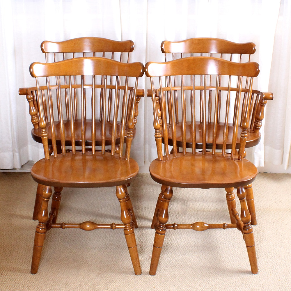 Colonial Windsor Style Maple Chairs By S. Bent U0026 ...