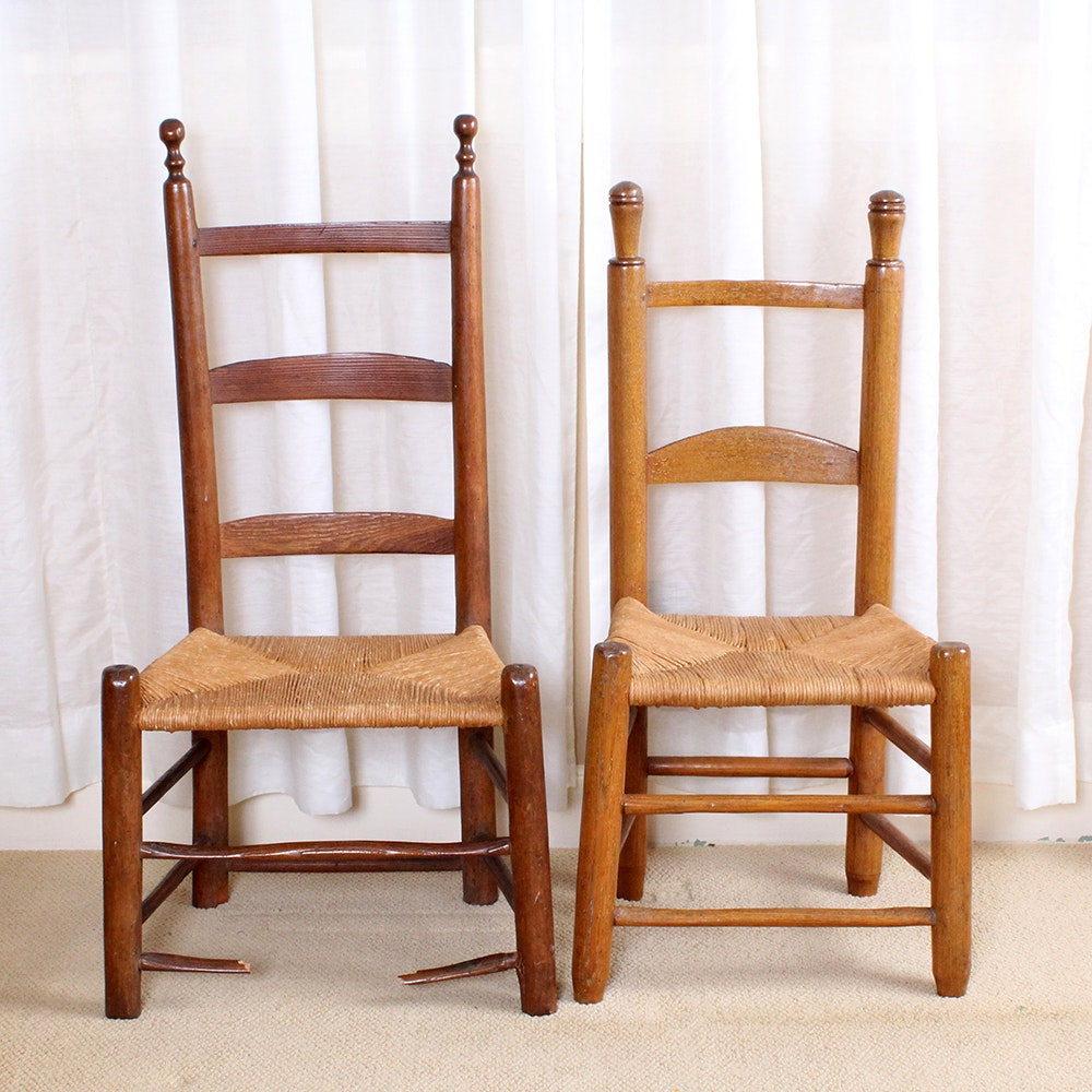 Two Handmade Ladder Back Chairs With Rush Seats ...
