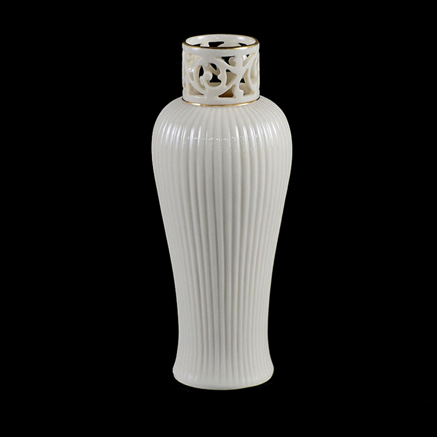 White Lenox Vase With Gold Tone Trim Ebth