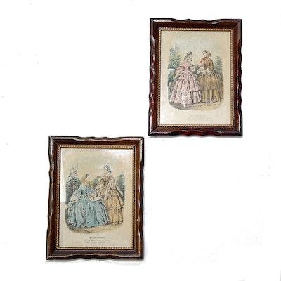 Vintage art prints art print auctions lithographs for for Miroir des modes prints
