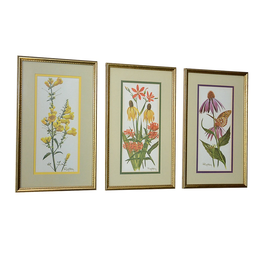Set of Three Framed Vintage Ray Harm Floral Prints : EBTH