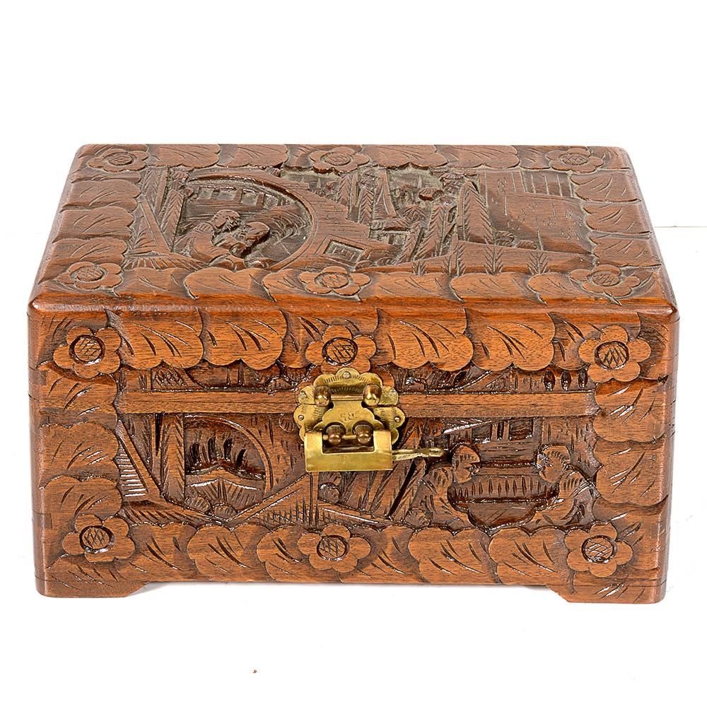 Chinese Carved Camphor Wood Jewelry Box EBTH