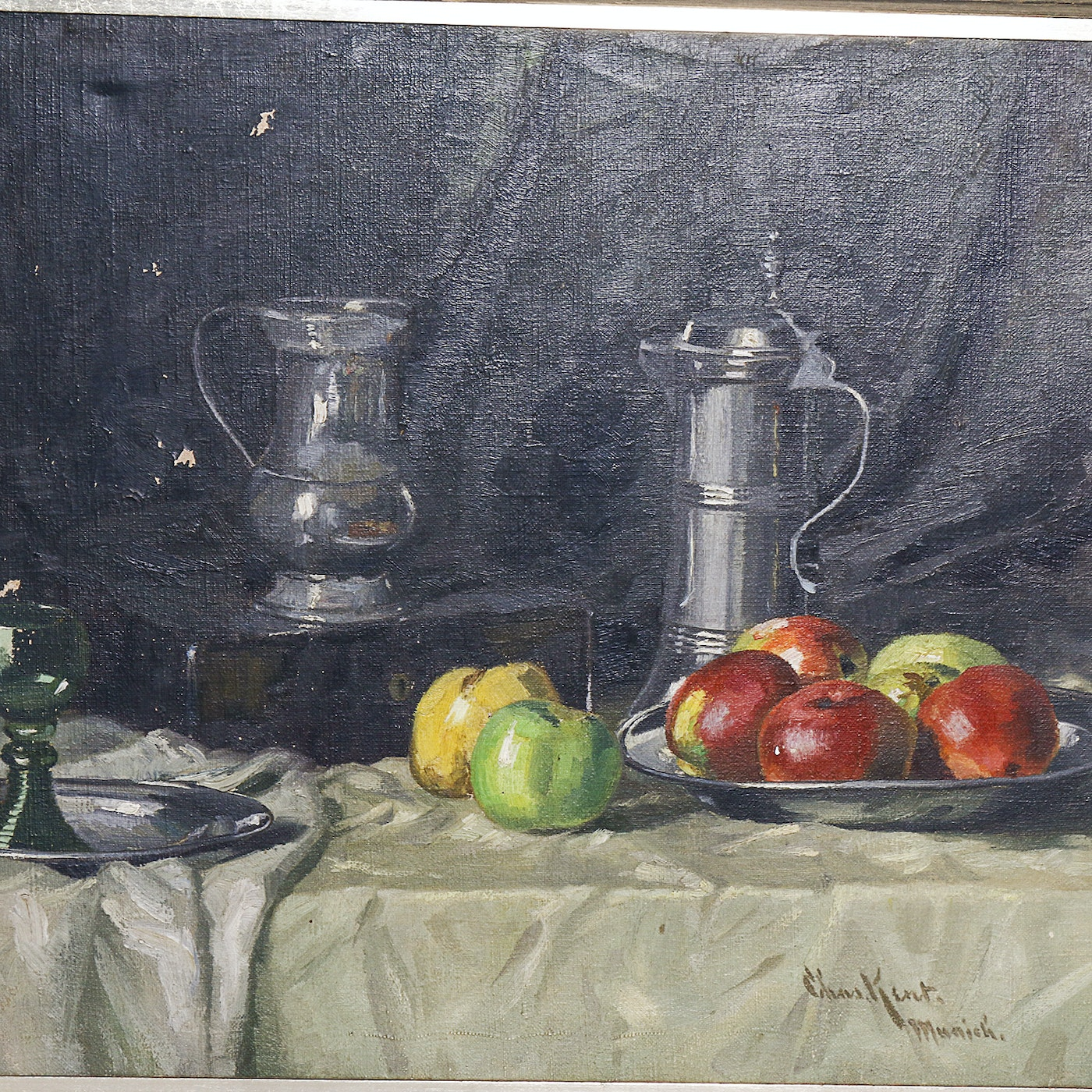 signed chas kent munich vintage fruit still life painting ebth. Black Bedroom Furniture Sets. Home Design Ideas