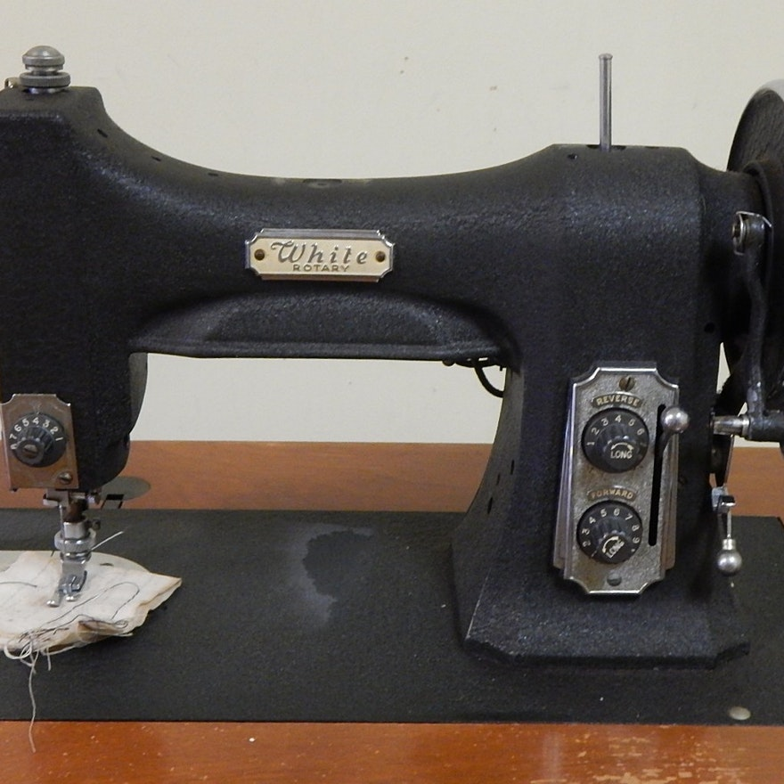 White Rotary Sewing Machine And Cabinet EBTH New White Sewing Machine 1632