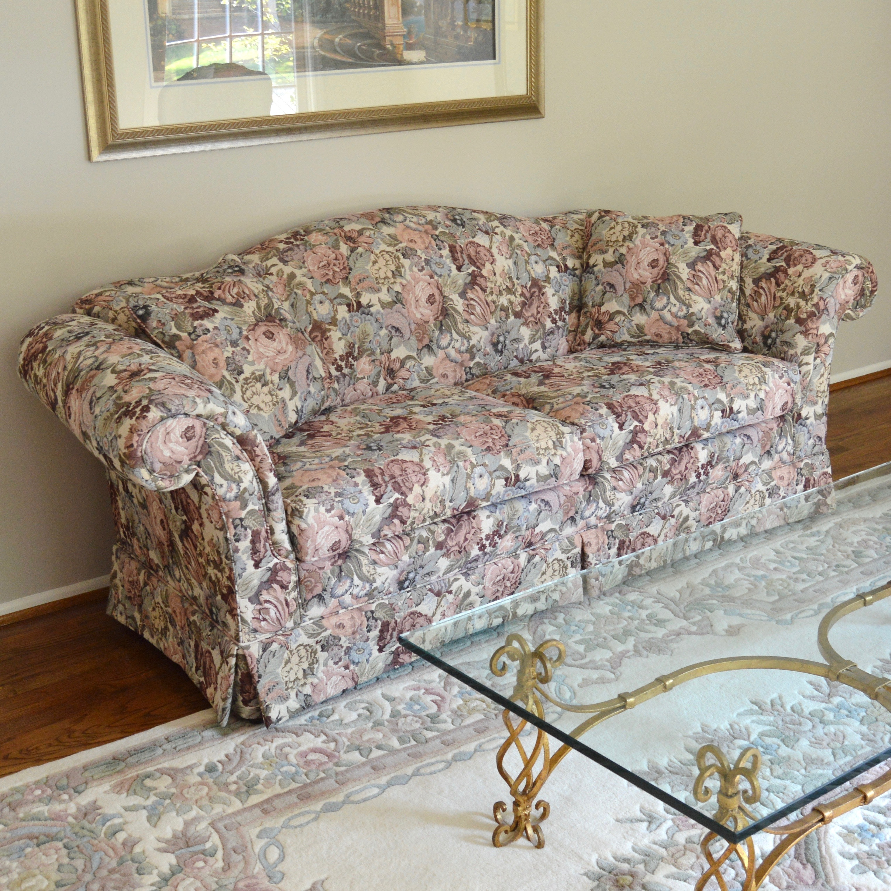 Ivory And Rose Floral Sofa By Sherrill Furniture ...