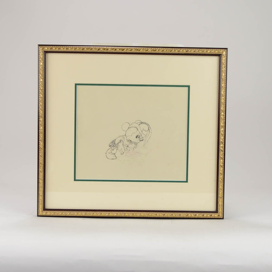 Framed Original Mickey Mouse Drawing