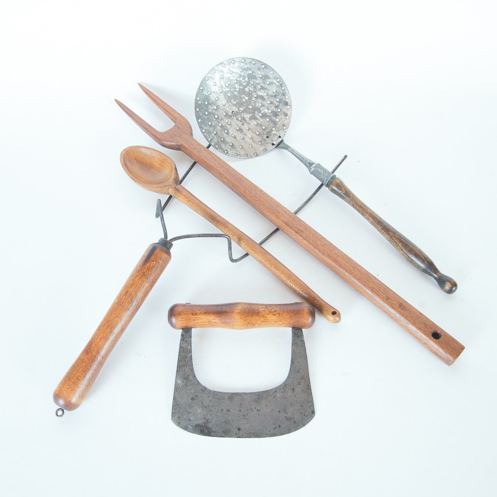 Collection Of Vintage Wood Handled Kitchen Utensils : EBTH