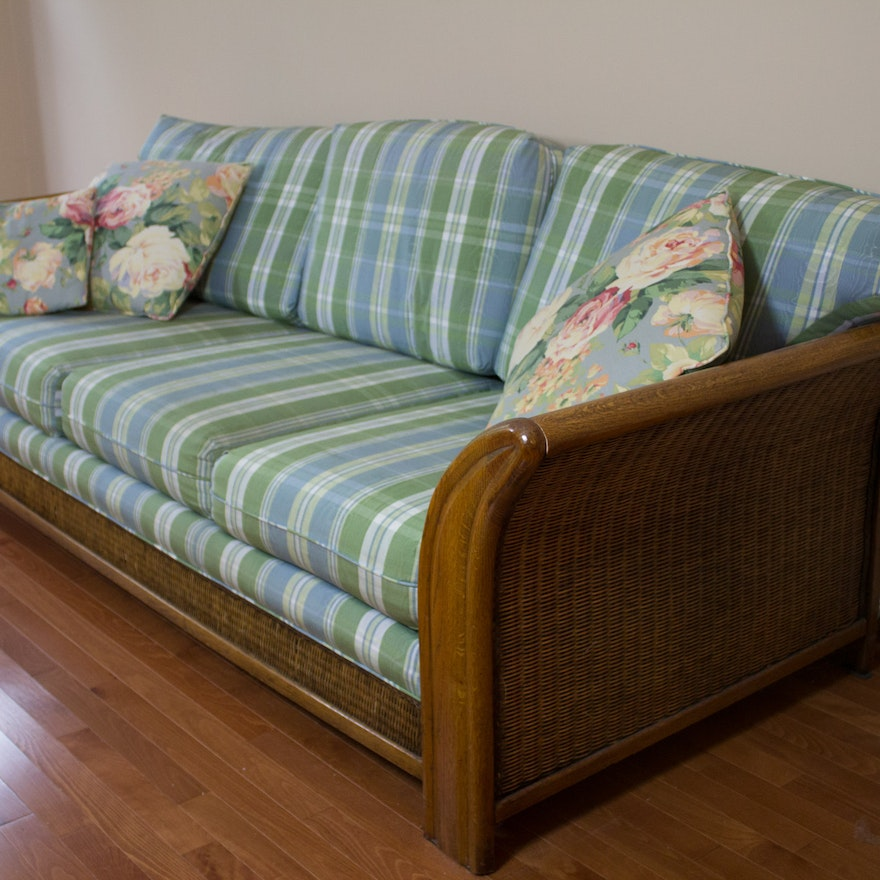 Light Green And Blue Plaid Upholstered Wicker Sofa Ebth
