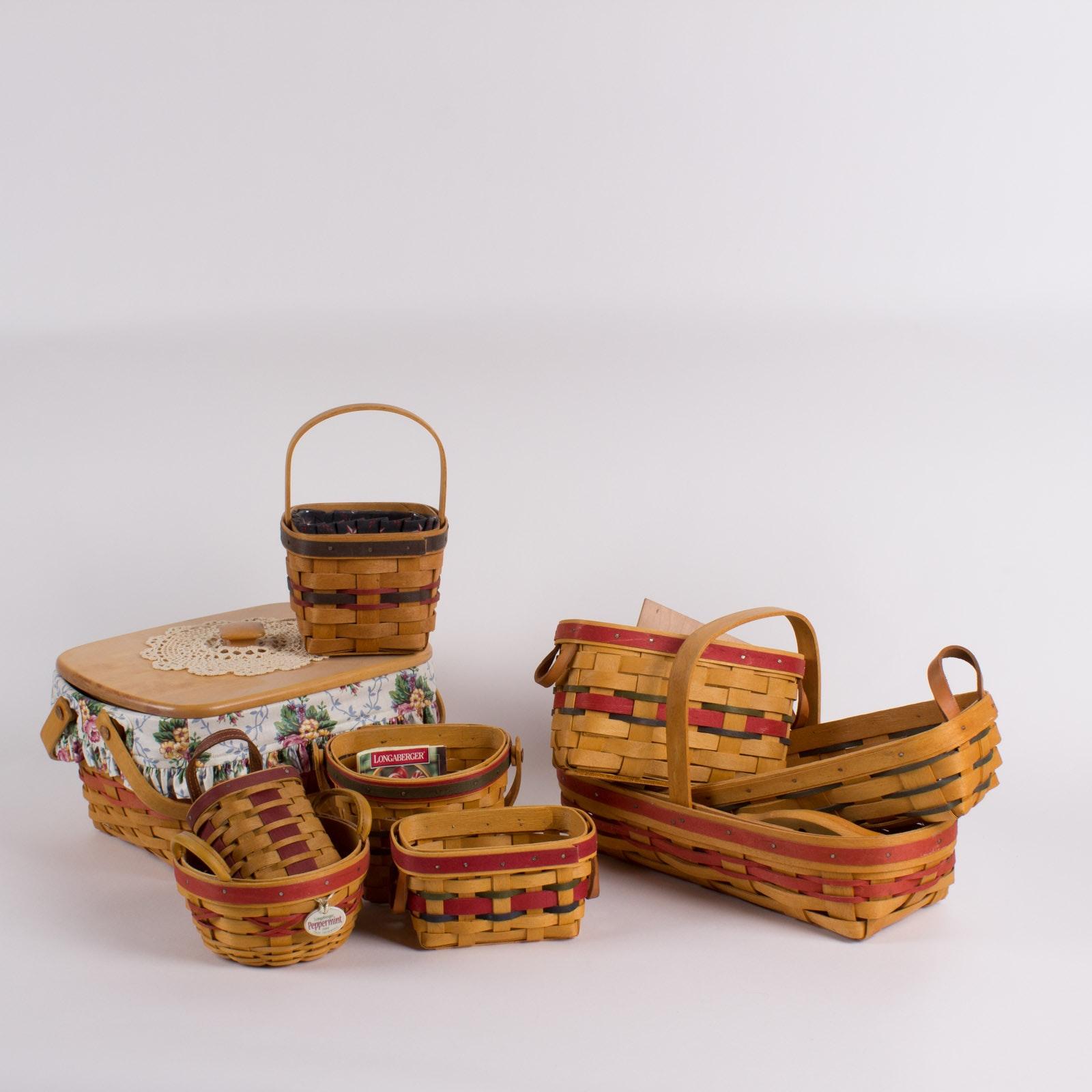 Collection of Longaberger Multicolor Baskets