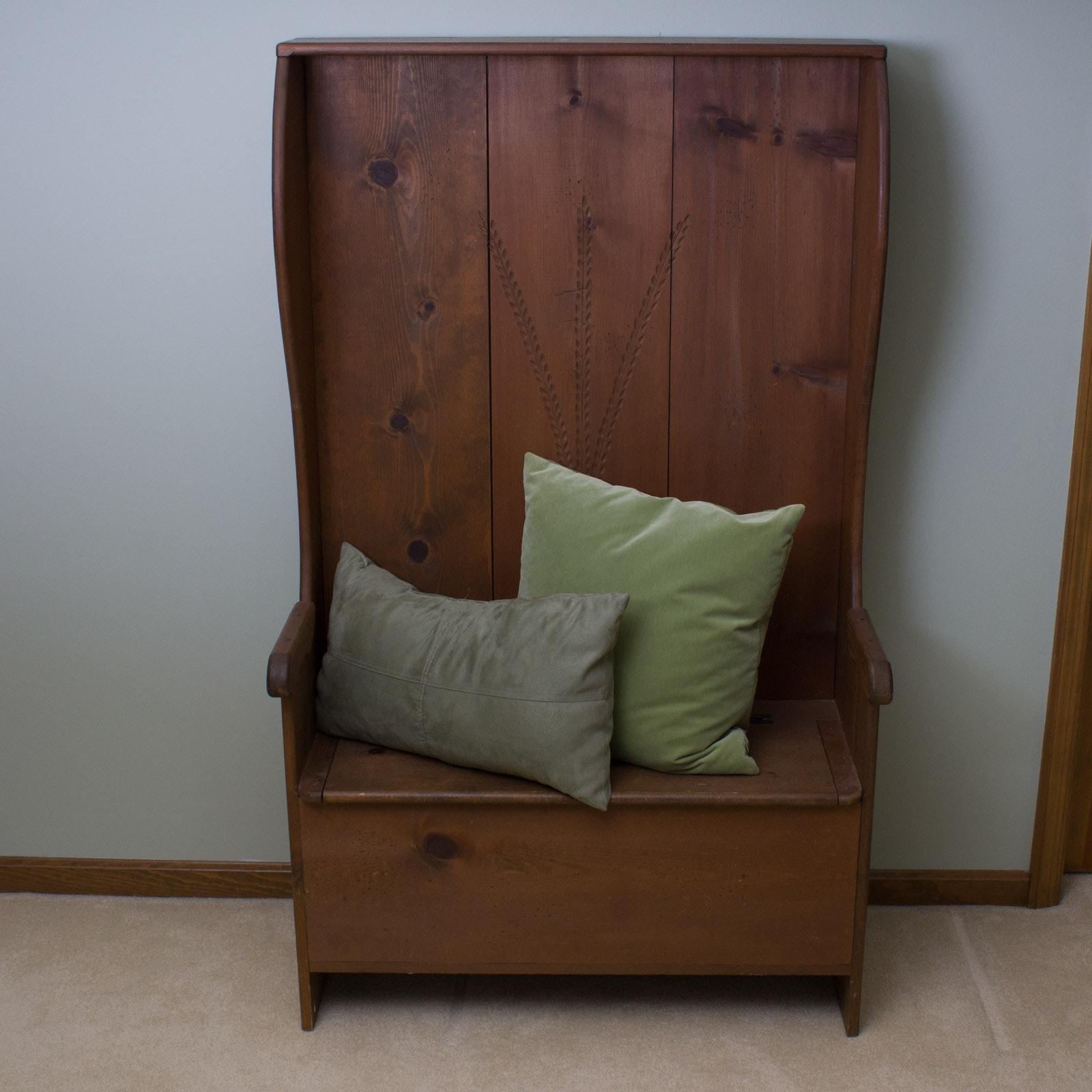 High Back Pine Storage Bench