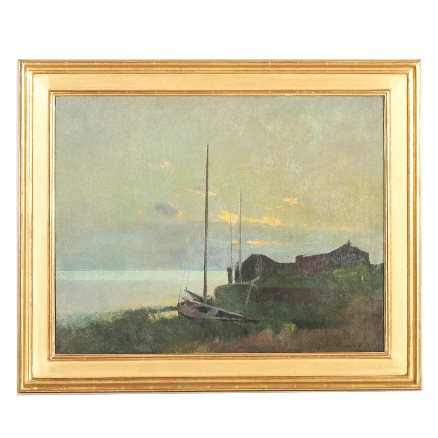 "Emil Carlsen Oil on Canvas ""Along the Shore..."""