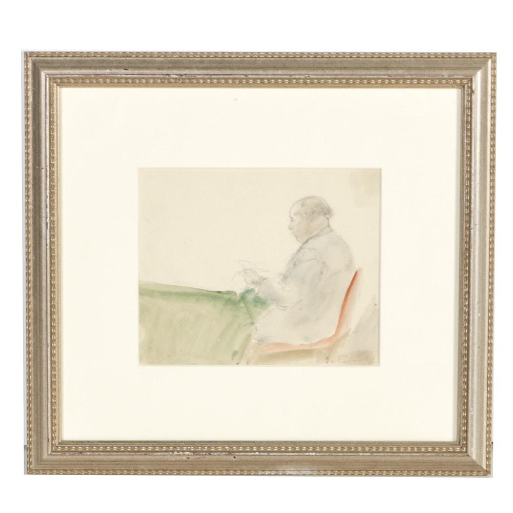 "Boris Solotareff Watercolor on Paper ""Man Reading"""