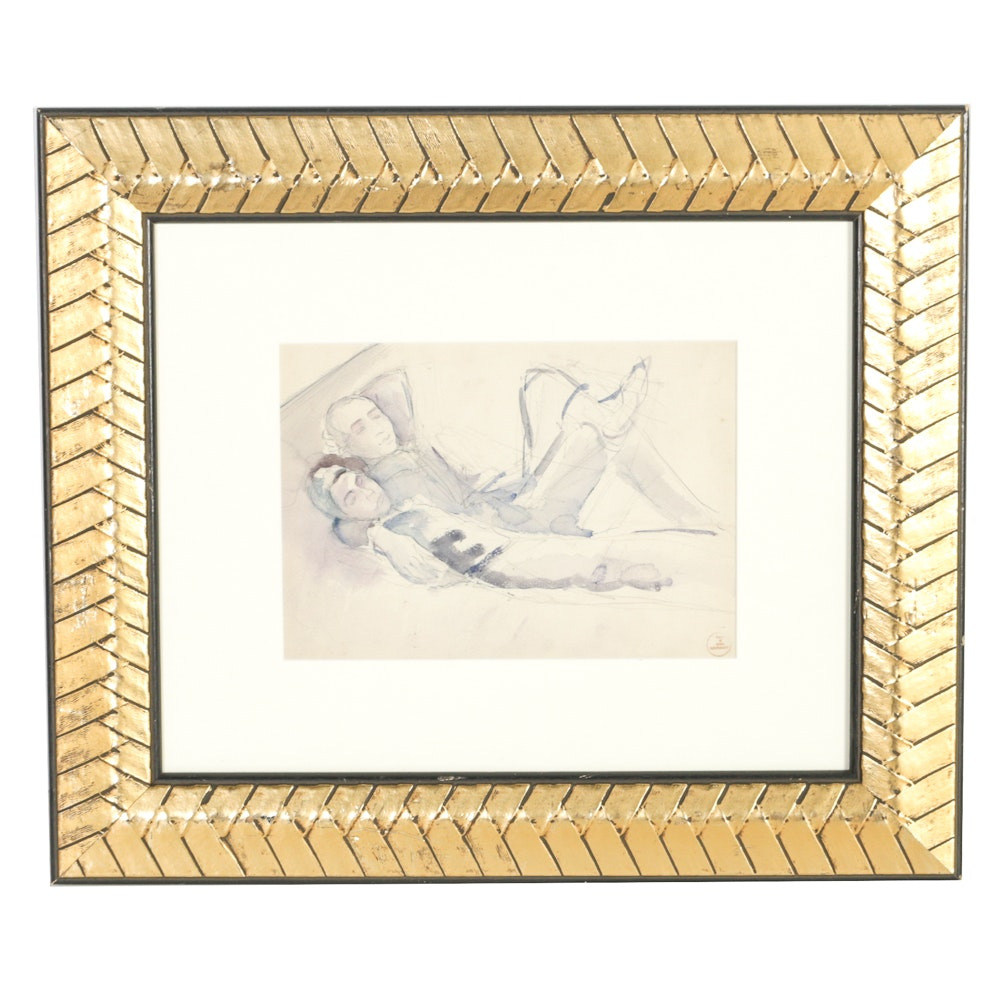 """Boris Solotareff Graphite and Watercolor Painting on Paper """"Couple Reclining"""""""
