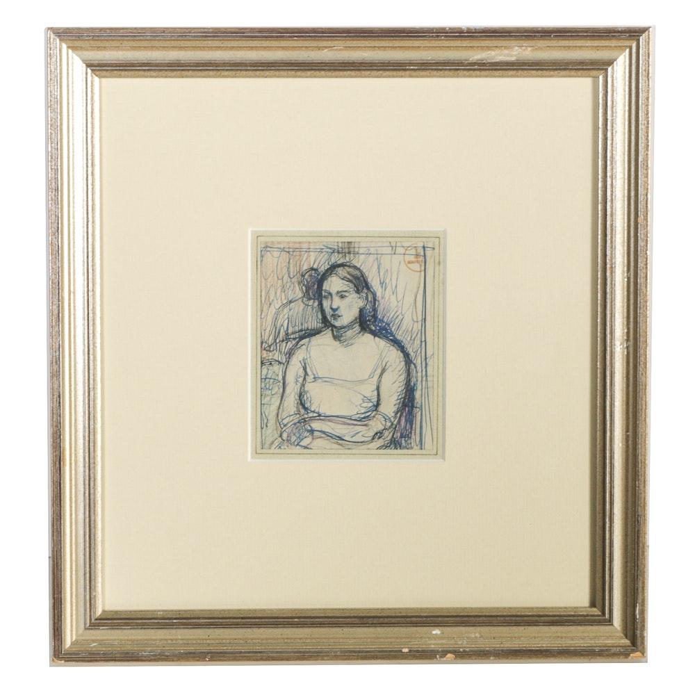 "Boris Solotareff Mixed Media Drawing on Paper ""Seated Woman"""