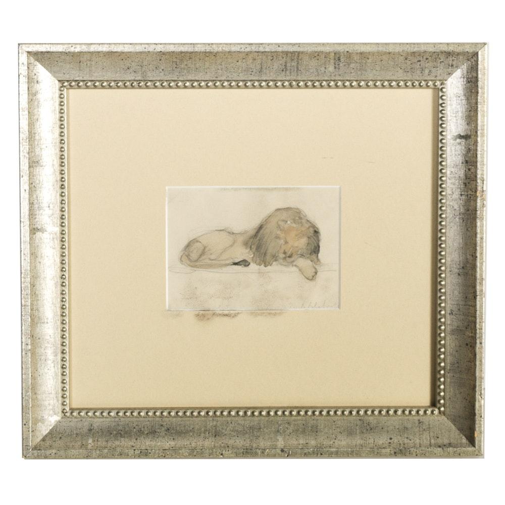 "Boris Solotareff Watercolor on Paper ""Lion at Rest"""