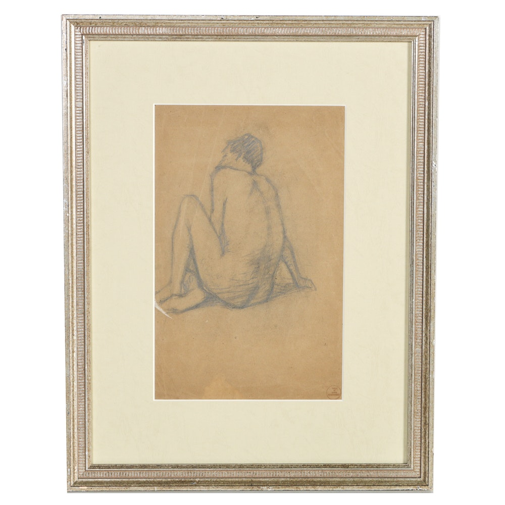 """Boris Solotareff Charcoal Drawing on Paper """"Seated Model"""""""